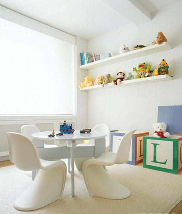 Kinderzimmer Deko tapeten bett weich weiß acryl möbel