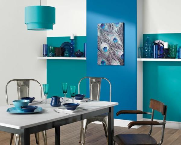 Kombinationen frisch pastell Wandfarben blau grün