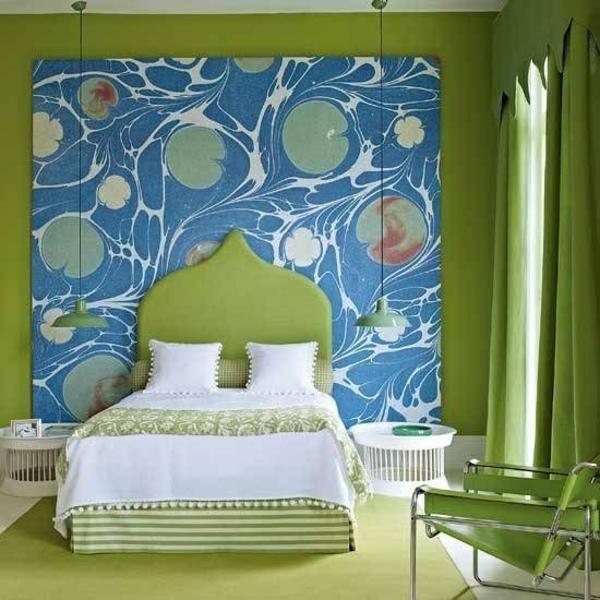 Kombinationen von Wandfarben gepolstert grün bett