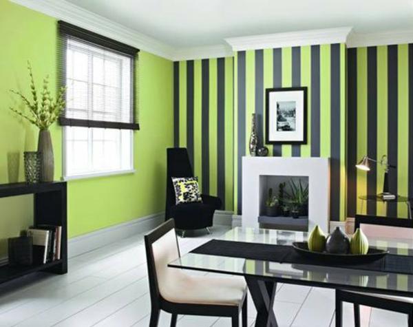 Kombinationen schwarz Wandfarben hellgrün