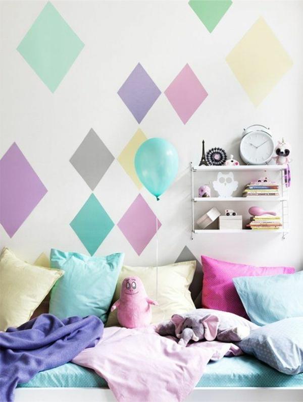 Kombinationen Wandfarben rauten bunt schlafzimmer