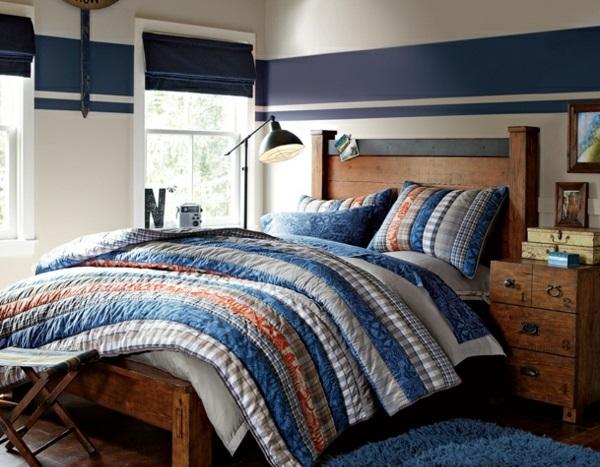 Kombinationen nautischer stil Wandfarben schlafzimmer bett