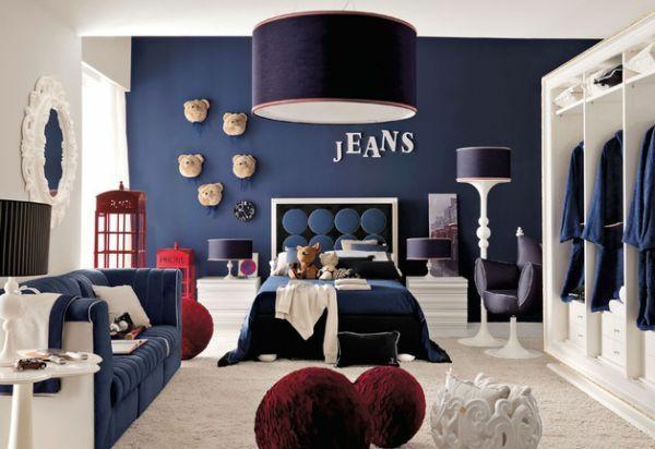 Kombinationen jeans Wandfarben schwarz wanddeko