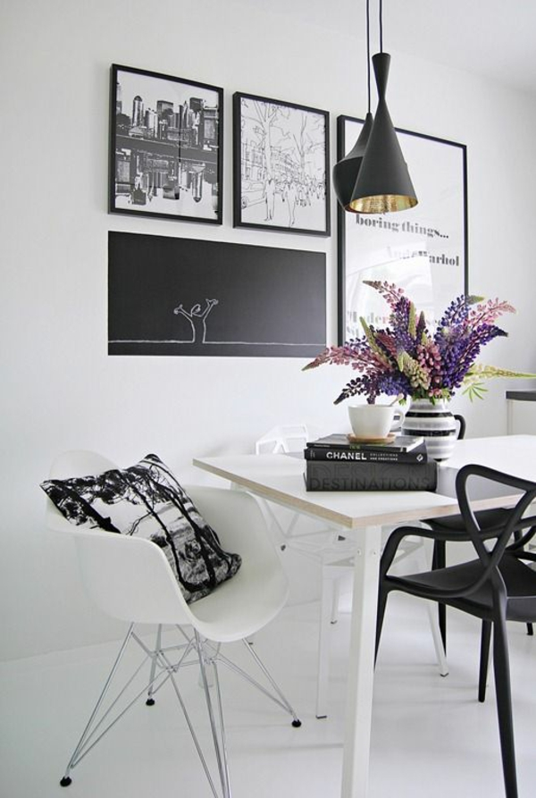 Kombinationen schwarz bilderrahmen Wandfarben schwarz weiß