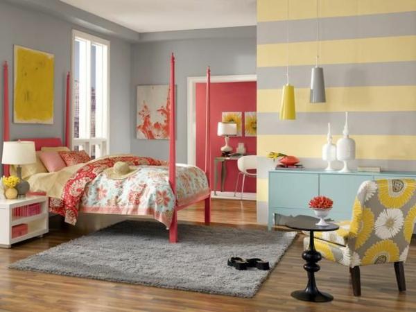 Kombinationen bettpfosten rot Wandfarben streifen waagerecht grau gelb