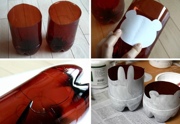 Recycling von Plastikflaschen blumentopf bunnies
