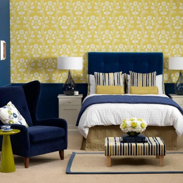 Schlafzimmer Ideen gestalten einrichten blau gelb samt