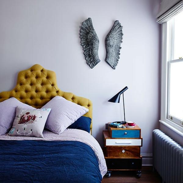 Schlafzimmer flügel deko Ideen gestalten einrichten kopfteil polsterung