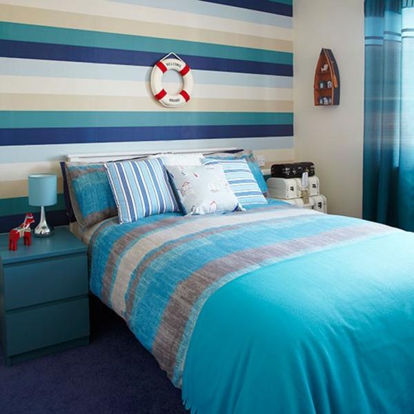 gestalten einrichten marineblau Schlafzimmer Ideen