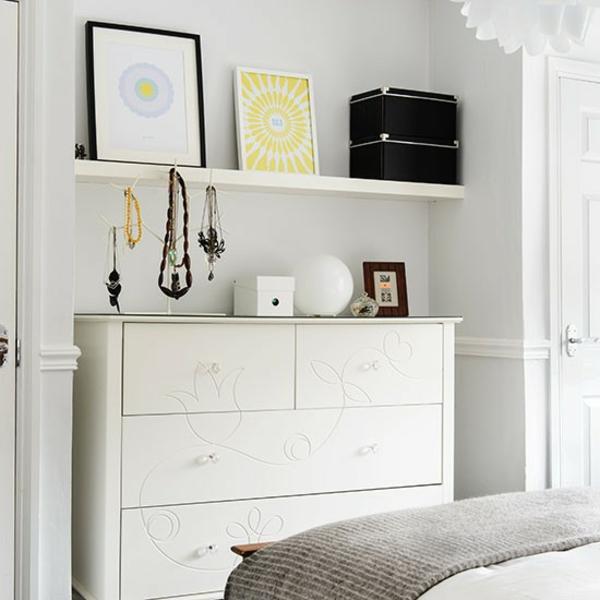 Schlafzimmer Ideen gestalten einrichten regale kommode