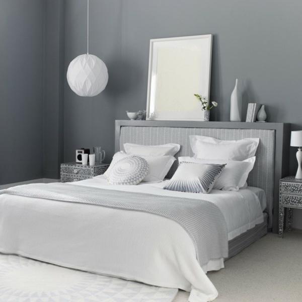 Schlafzimmer komplett gestalten hängelampe kugel weiß