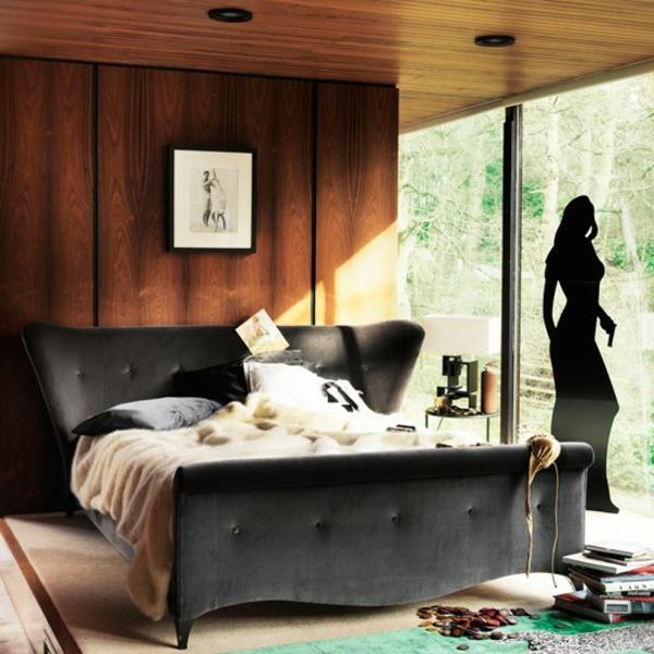 Schlafzimmer komplett gestalten  wandtattoo fenster holz wand