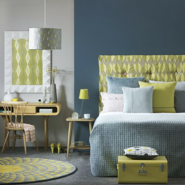 Schlafzimmer komplett gestalten blau wand