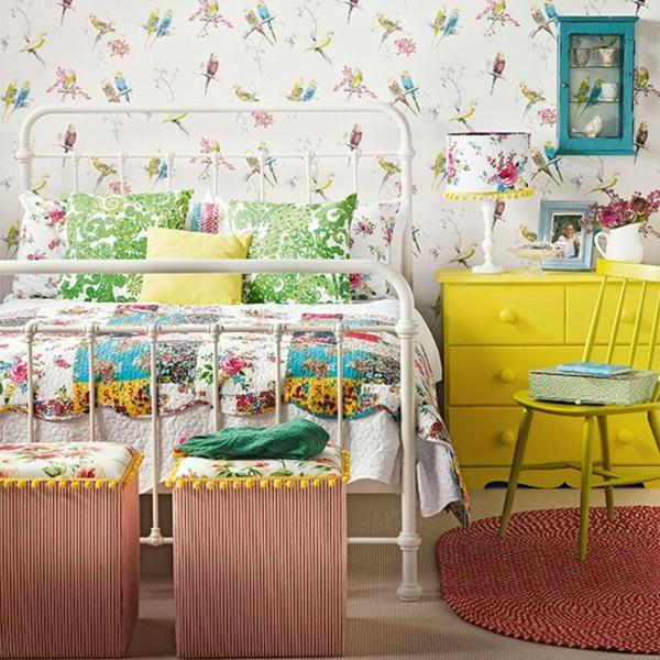 Schlafzimmer komplett gestalten gelb kommode