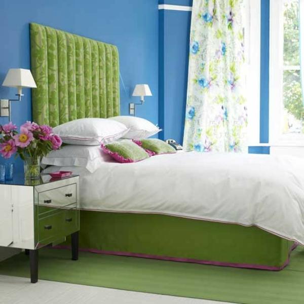 Schlafzimmer komplett gestalten grün kopfteil