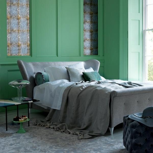 Schlafzimmer komplett gestalten grün tafel