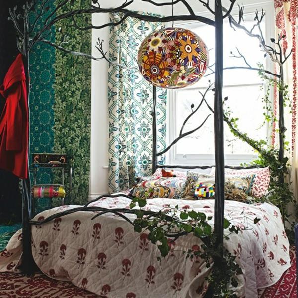 Schlafzimmer komplett gestalten himmelbett pflanzen