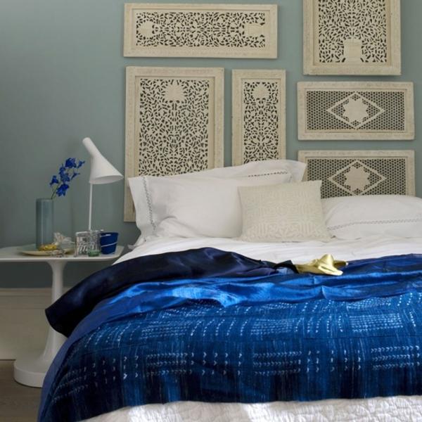 Schlafzimmer wanddeko komplett gestalten könnigblau