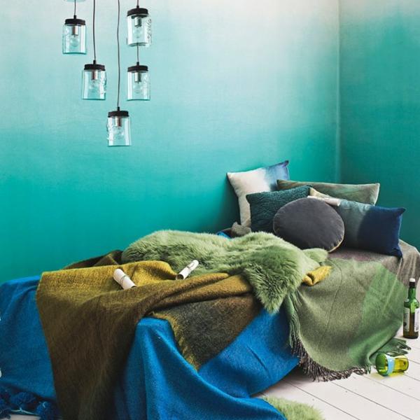 Schlafzimmer gestalten minimalistisch bunt komplett