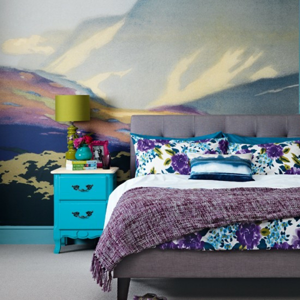 Schlafzimmer komplett gestalten  nachttisch türkis