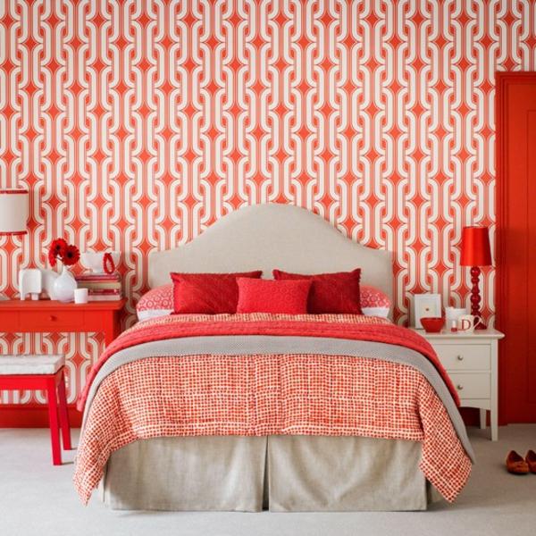 Schlafzimmer gestalten rot farben komplett