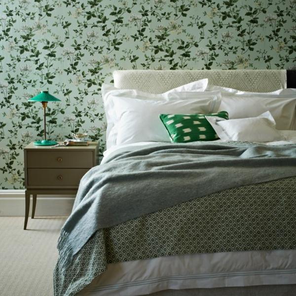 Schlafzimmer gestalten komplett  wanddeko muster