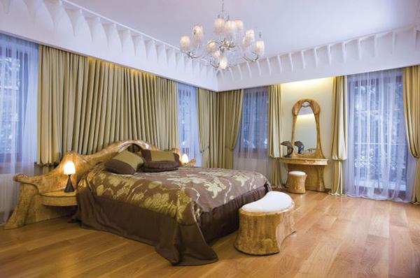 Schlafzimmergestaltung und Wandfarben deko einrichten gardinen
