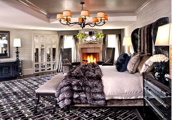 Schlafzimmergestaltung und Wandfarben deko einrichten  kronleuchter