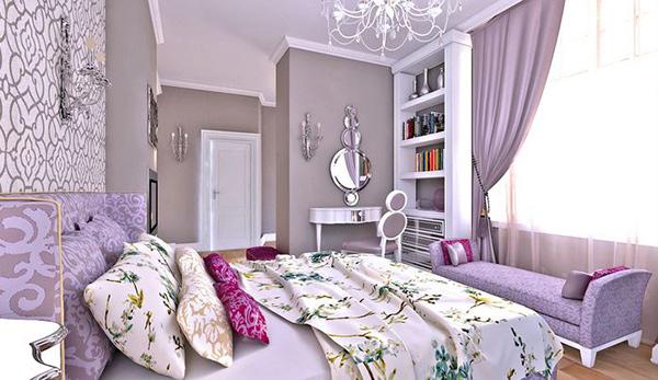 Schlafzimmergestaltung und Wandfarben deko einrichten lila