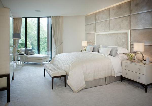 Schlafzimmergestaltung polsterung Wandfarben deko einrichten weiß
