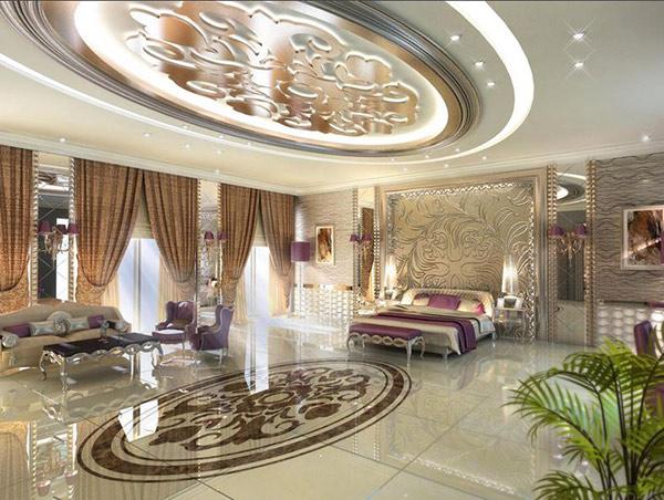 Schlafzimmergestaltung Wandfarben deko einrichten zimmerdecke