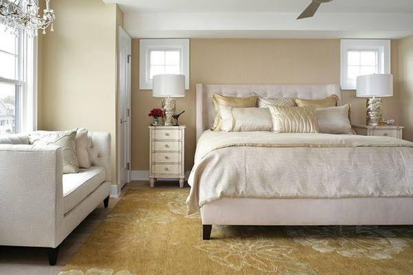 Schlafzimmergestaltung teppich Wandfarben deko einrichten