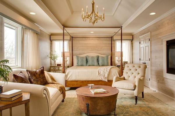Schlafzimmergestaltung einrichten Wandfarben deko sofa