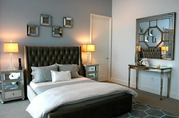 Schlafzimmermöbel und Nachttische spiegel antik design kopfteil