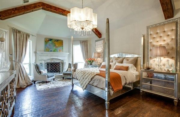 Schlafzimmermöbel Nachttische spiegel antik design lampe