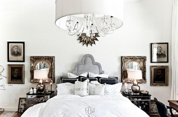 Schlafzimmermöbel und Nachttische spiegel antik design lampenschirm