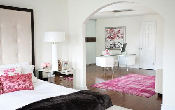 Schlafzimmermöbel und Nachttische spiegel antik design rosa farben