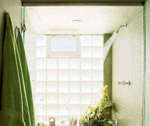 Sichtschutz für Badfenster frisch grün lösung