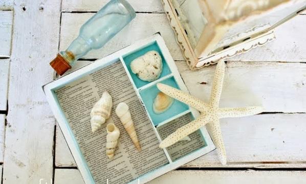 Sommer Souvenirs kasten sand muscheln