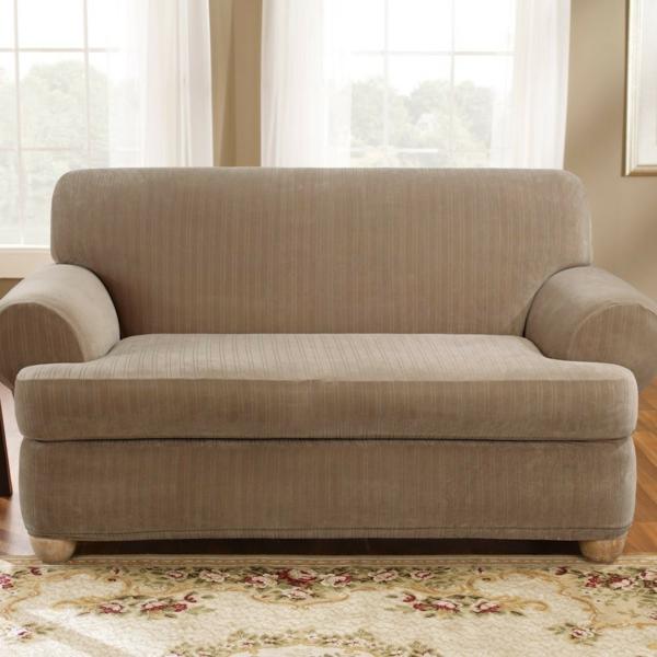 Stretchbezug Sofa beige glatt rückenlehne fenster gardinen