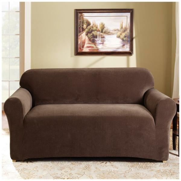 Stretchbezug Sofa dunkel braun tradition genälde