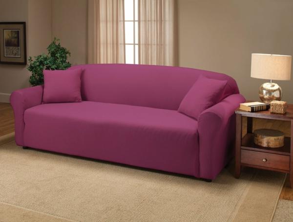 Stretchbezug Sofa feminine farben rosa lila