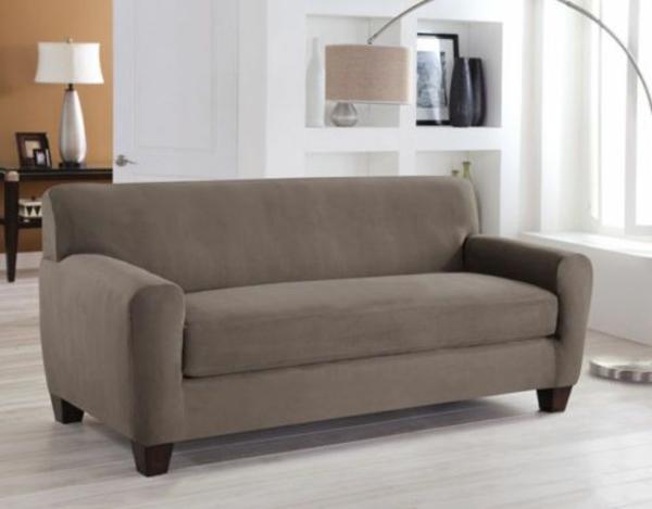 Stretchbezug für Sofa grau klein  bogenlampe stehlampe