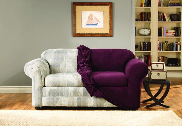Stretchbezug beistelltisch Sofa purpurrot samt