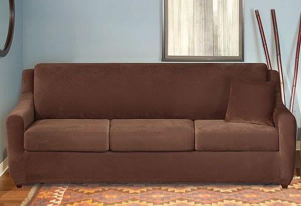 Stretchbezug teppich Sofa samt braun spiegel wand fenster