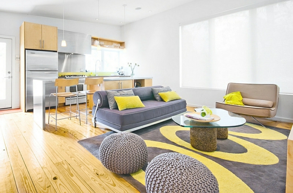 grau wohnzimmer:Yellow and Grey Living Room Ideas