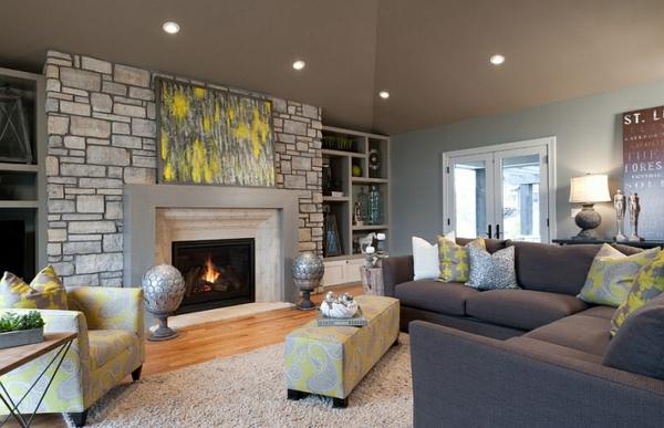Great Wohnzimmer Steinwand Natur Farbgestaltung Chromatisch Wand