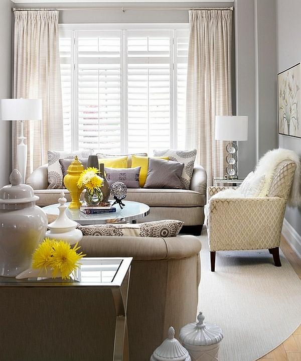 Wohnzimmer Farbgestaltung Gardinen Tischlampen Fenster Hell Licht