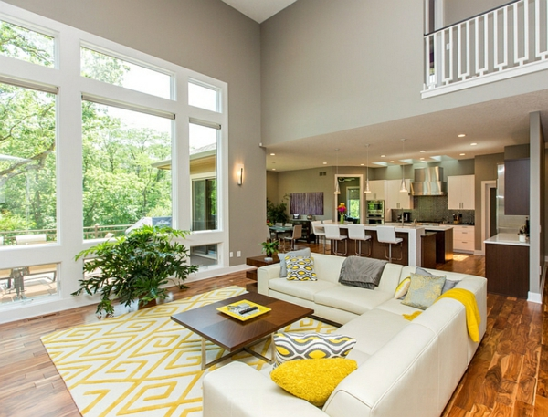 Wohnzimmer muster teppich Farbgestaltung fenster wohnzimmer ecksofa
