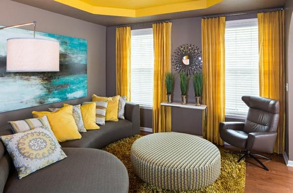 Wohnzimmer Farbgestaltung Gelb Gardinen Grau Wand